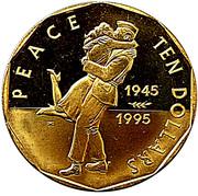 10 Dollars (50ème anniversaire de la fin de la Seconde Guerre Mondiale) – revers