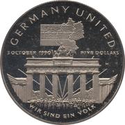 5 dollars (réunification allemande) – revers