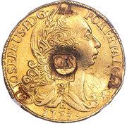 66 shillings - Contremarque sur faux d'époque d'une pièce brésilienne d'or de 6400 Reis Joao 1 de 1773-R – avers