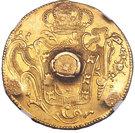 66 shillings - Contremarque sur faux d'époque d'une pièce brésilienne d'or de 6400 Reis Joao 1 de 1773-R – revers