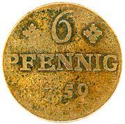 6 pfennig Friedrich II. – revers