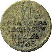 6 pfennig Friedrich II – revers