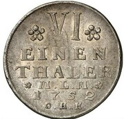 ⅙ thaler Christian Ludwig II – revers