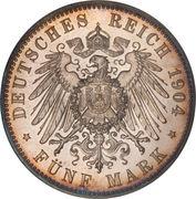 5 Mark - Friedrich Franz IV (Mariage avec la princesse Alexandra de Hanovre) – revers