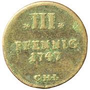 3 pfennig Adolf Friedrich II – revers