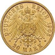 20 Mark - Adolph Friedrich V – revers