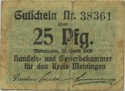 25 Pfennig (Meiningen; Handels- und Gewerbekammer) – avers