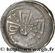 Denier Jean 1er d'Apremont (Évêché de Metz, type 1 aux mains jointes et à la main bénissante) – revers