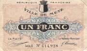 1 franc - Ville de Metz [57] -  avers