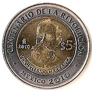 5 pesos Venustiano Carranza -  revers