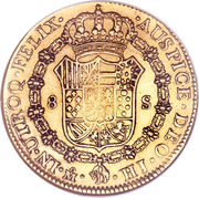 8 escudos - Ferdinand VII (monnaie coloniale) – revers