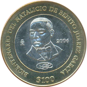 100 Pesos (200th Anniversary Birth of Benito Juarez Garcia) – revers