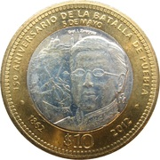 10 pesos (bataille de Puebla) -  revers