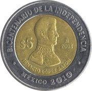 5 pesos Ignacio Lopez Rayon -  revers