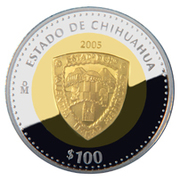 100 Pesos (Chihuahua - Gold & Silver Proof Issue) – revers