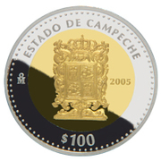 100 Pesos (Campeche - Gold & Silver Proof Issue) – revers