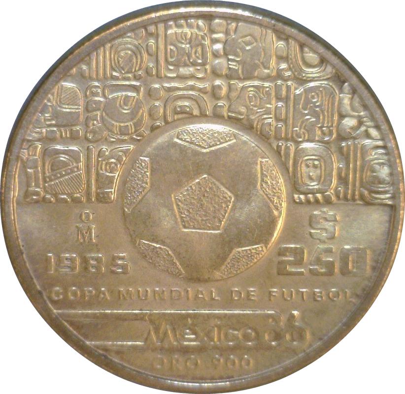 250 pesos coupe du monde de football mexique 1986 mexique numista - Coupe du monde mexique 1986 ...