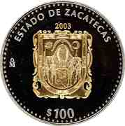 100 Pesos (Zacatecas - Gold & Silver Proof Issue) -  revers