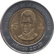5 pesos Guadalupe Victoria -  revers