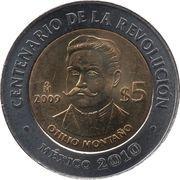 5 pesos Otilio Montano -  avers