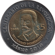 5 pesos Belisario Dominguez -  revers