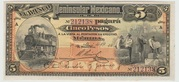 Mexico -  Revolutionary, 5 Pesos Banco Peninsular (Merida) – avers