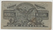10 centavos Gobierno Provisional de Mexico – revers