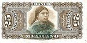 25 Centavos 1888, Banco Mexicano – revers
