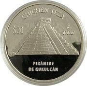 20 Pesos / 5 Onzas (Pirámife de Kukulcán) -  avers