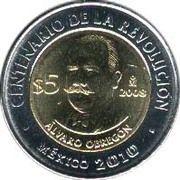 5 pesos Alvaro Obregon -  revers