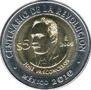 5 pesos José Vasconcelos -  revers