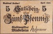 5  Pfennig Mindelheim – avers