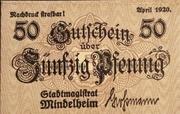 50  Pfennig Mindelheim – avers