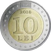 10 lei (25 ans de la monnaie nationale) – revers