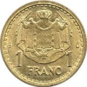1 franc Louis II (cupro-aluminium) – revers