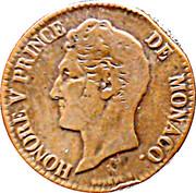 5 centimes Honoré V (large tête) – avers