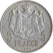 5 francs Louis II -  revers