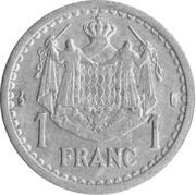 1 franc Louis II (aluminium) – revers