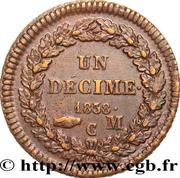 1 décime Honoré V (Grosse tête en cuivre jaune) – revers