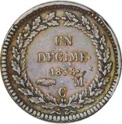 1 décime Honoré V (Petite tête en bronze) – revers