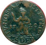 Dardenna ou 8 deniers (denari, St Dévote) – revers
