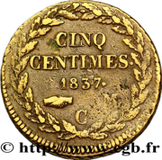5 centimes Honoré V (Grosse tête) – revers