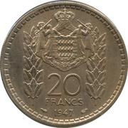 20 francs Louis II – revers
