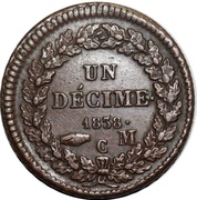 1 décime Honoré V (tête large, bronze) – revers
