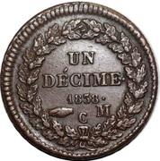 1 décime Honoré V (Grosse tête en bronze) – revers