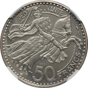 50 francs Rainier III (Piéfort Essai) – revers