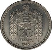 20 francs Louis II (Essai) – revers
