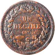 1 décime Honoré V (petite tête, cuivre) – revers