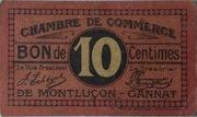 10 centimes - Chambres de Commerce de Montluçon et de Gannat [03] – avers