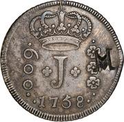 """1000 Réis - José I (Contremarque """"M"""" sur 600 Réis""""J""""/Brésil) – avers"""